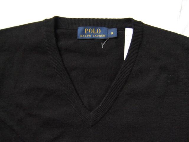 c38eee5834c Polo pour Hommes Ralph Lauren Pull Col V laine Merino Noir S