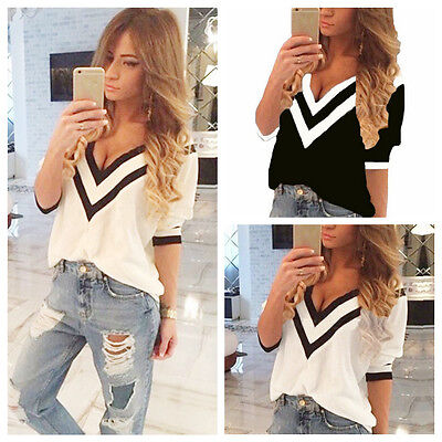 Vogue Summer Women V-Neck Mixed Colors Loose T-Shirt Vest Chiffon Short Sleeve