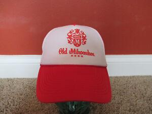 e54d362cfb1 OLD MILWAUKEE BEER snapback mesh foam trucker baseball hat red white ...