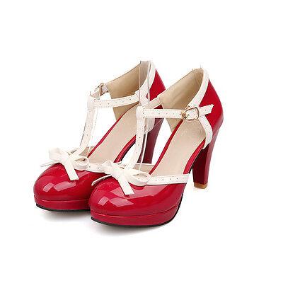 Womens lita Bow Stilettos Sweet Pump Leather Retro T Strap Bar Shoes Size 34-43