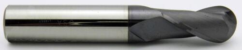 "1//8/"" LOC 2 Flute Single End Ball AlTiN Carbide End Mill USA #52599 3//64/"" Dia"