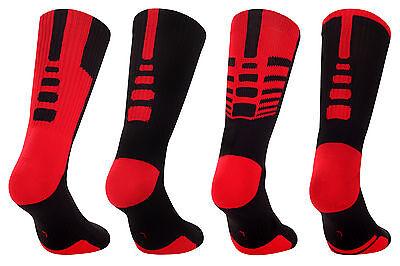 SAMSON® 4 PAIRS PACK SOCKS BLACK RED THICK BASKETBALL GYM FITNESS MENS WOMENS