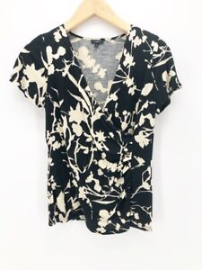 Talbots-Womens-Faux-Wrap-Top-Black-Beige-Floral-Short-Sleeves-Ruched-Blouse-S