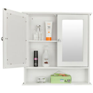 Bathroom Mirror Wall Cabinet Over The Toilet Storage Bath Organizer Rack Finish Furniture Patterer Cabinets Cupboards