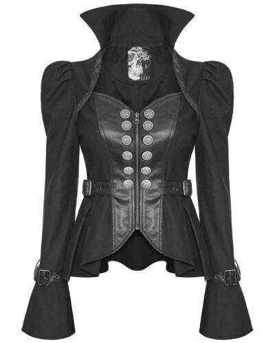 Veste Gothique Noir Dystopian Similicuir Femmes Militaire Punk Steampunk Rave vBqAwtx