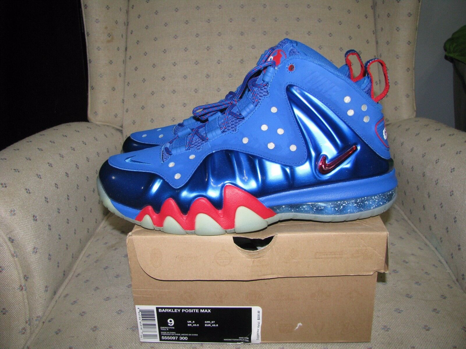 e408e69f06a7 Nike Air Barkley Posite Foamposite Max 1 76ers Sixers Energy Blue ...