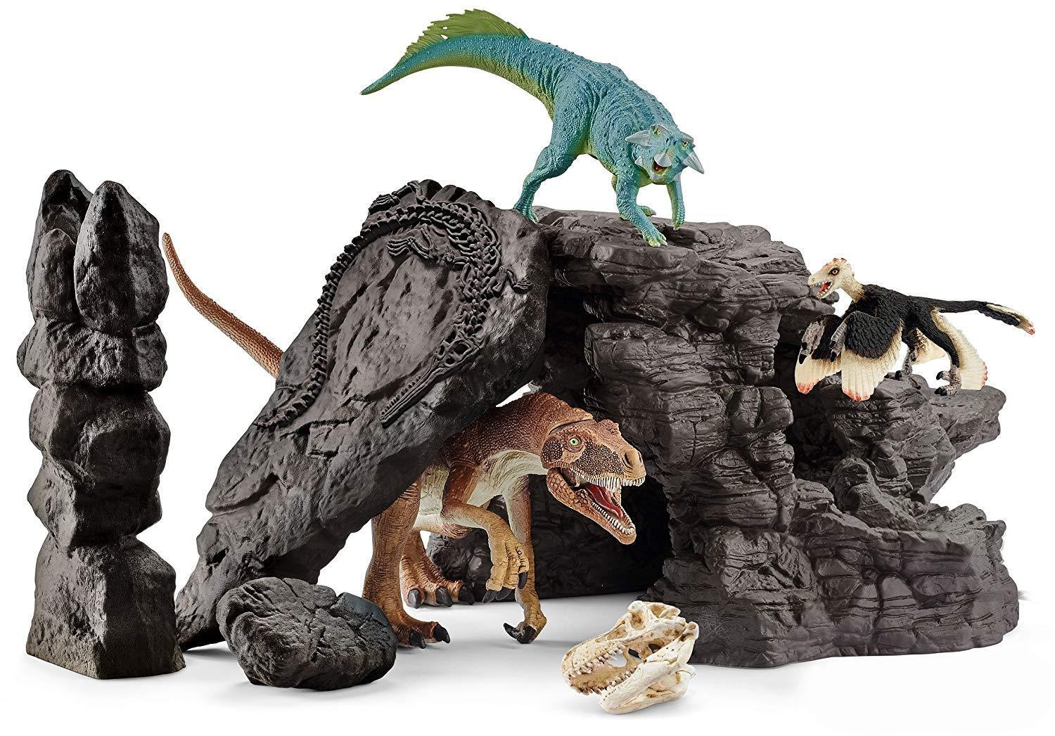Schleich Dinosaur Cave Set with 3 Dino Figures and Accessories 41461