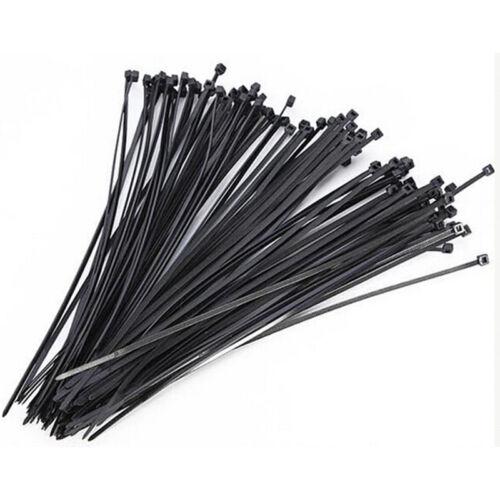 100PC 4.8x300mm Locking Nylon Plastic Cable Ties Zip Wire BLACK Cord Wrap Pip pi
