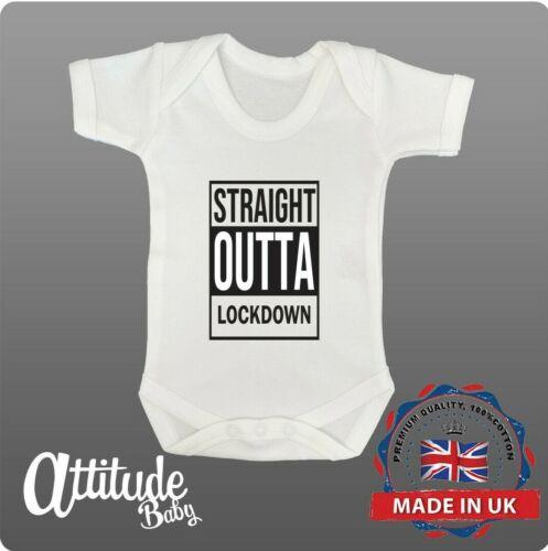 Plain bébé pousse-Straight Outta Lock Down Baby Grow-Lock Down Bébé Gilets
