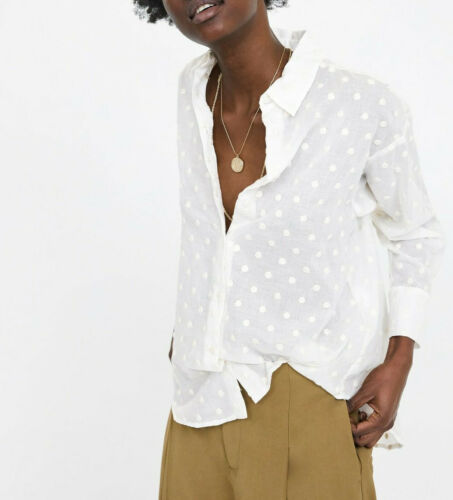New Polka Blusa 493 Lunares Ss19 2111 Zara Embroidered Xs Oversized Dot Blouse RBURrxAqtw