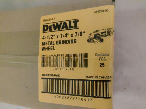 "DeWalt DW4514 Metal Grinding Wheels 25 Pack NIB 4-1//2/""x1//4/""x7//8/"" eco ship save"