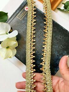 3 Yards Latest Indian Pale Gold Stone N Zari Bridal Lehenga Dupatta Lace Trim