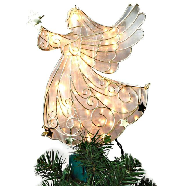 White And Gold Angel Light Up Christmas Tree Topper With 10 Lights 11 Inch Tall
