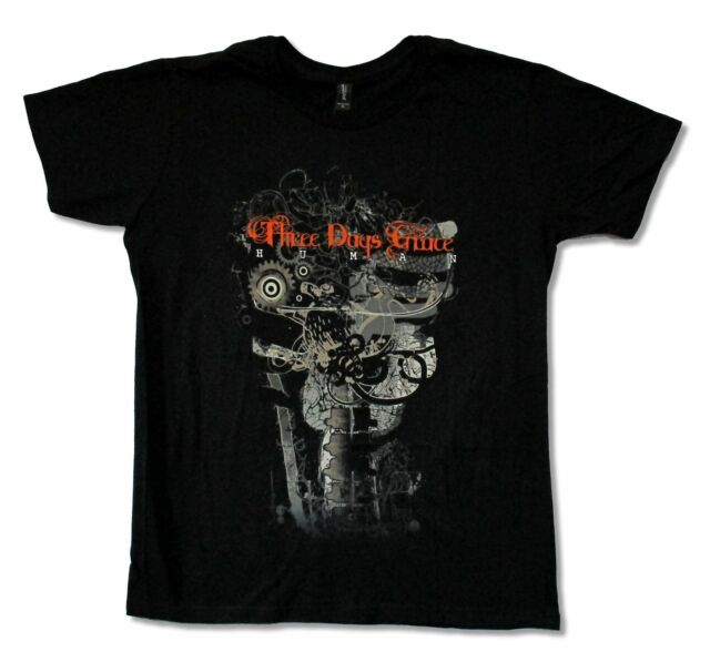 "THREE DAYS GRACE ""GEAR SPINE"" BLACK SLIM FIT T-SHIRT NEW OFFICIAL ADULT BAND"