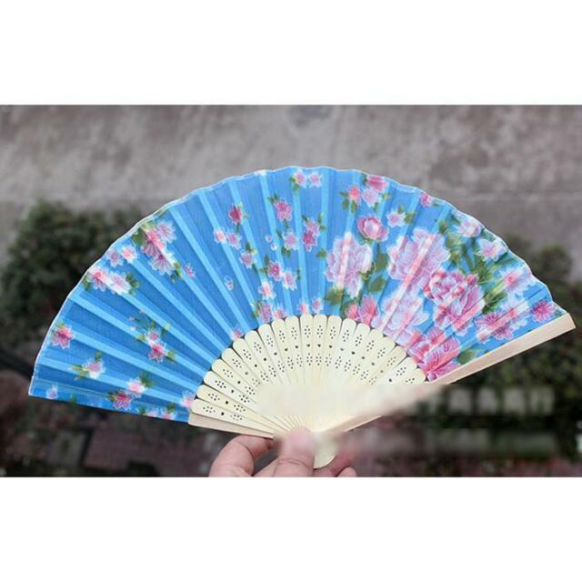 Chinese flower painting bamboo folding hand women fan wedding party decor gift