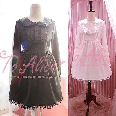 Cute Women's Dolly Peter Pan Collar Cross Embroidery Long Sleeve Lolita Dress