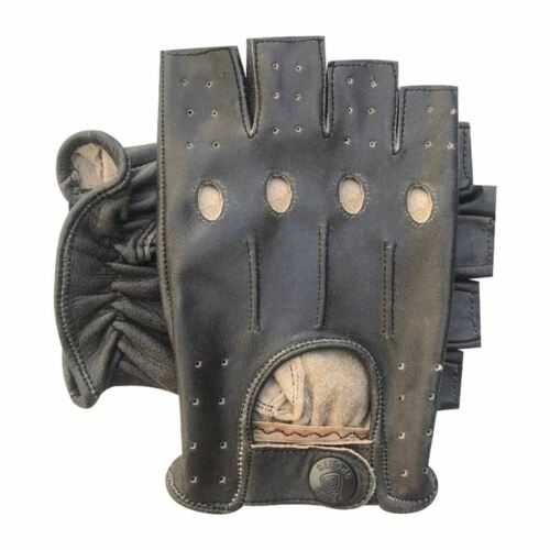 Halffinger conduite cyclisme moto fashion crunch vache nappa cuir gants 309