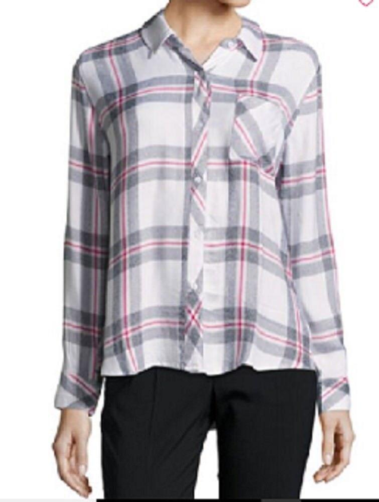 Rails Woherren Hunter Button Down Plaid Shirt in Melange Blau Größe Large