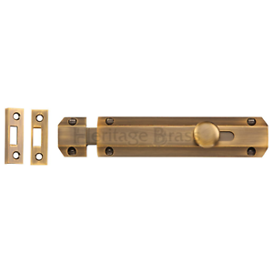 Sliding Flat Bolt Antique Brass Surface Slide Lock Door