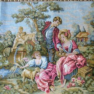 Vintage-French-Tapestry-Wall-Hanging-Pastoral-Georgian-Scene-36-034-x-19-5-034