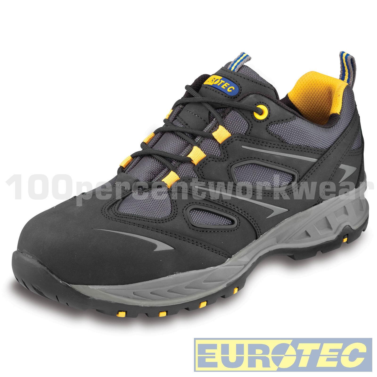 Euredec 715NMP Black Nubuck Leather Mesh Safety Work Trainers Composite Toe Cap