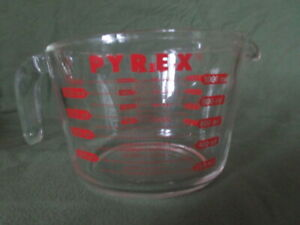 Vintage Pyrex 4 Cup 1 Quart Glass Red Measuring Cup Open Handle