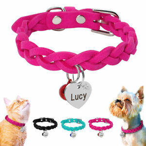 Suede-Small-Dog-Braided-Collars-amp-Personalised-Engraved-Tag-for-Pet-Puppy-Cat-XS-M