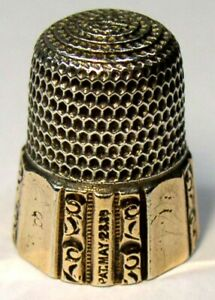Antique-Simons-Bros-Gold-Band-Sterling-Silver-Thimble-Fluted-Octagon-Dtd-1889