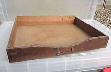 Vintage Wooden Drawer Paper Tray Brass Index Card Holder Storage Art Deco Old