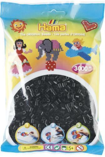 3.000 Stück im Beutel Hama Bügelperlen midi schwarz