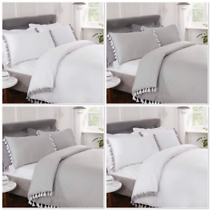 Rapport-034-Tassels-034-Duvet-Cover-Bedding-Set-White-Or-Grey