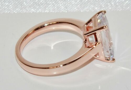 9CT ROSE GOLD ON SILVER 5.00 CARAT EMERALD CUT SOLITAIRE ENGAGEMENT RING size J