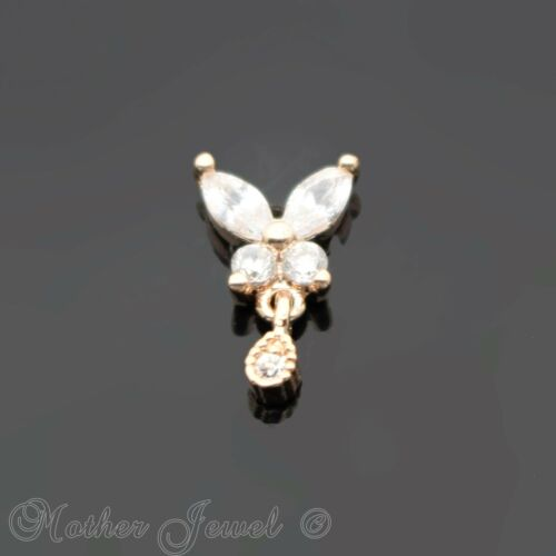 14K ROSE GOLD IP SIMULATED DIAMOND BUTTERFLY TRAGUS LABRET PIERCING STUD