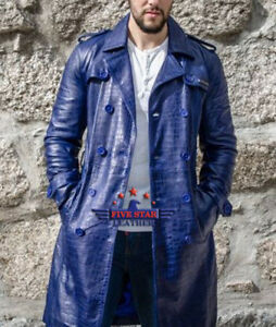 Men-Real-Real-Hide-Leather-Crocodile-Alligator-Embossed-Jacket-Coat-Blue