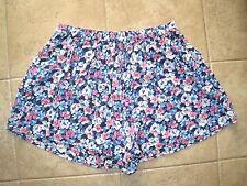 GUC L HCO Womens Hollister Blue Pink Flower Print High Rise CULOTTE shorts