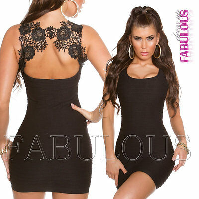 Sexy Crochet Lace Stretch Mini Dress Size M L Casual Party Clubbing Fitted 10 12