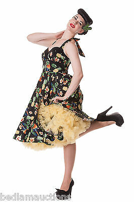 HELL BUNNY BLACK SASSY TROPICAL TIKI 50'S DRESS KITSCH BIRD PINEAPPLE 8-22
