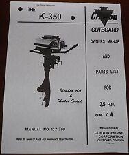 Clinton K350A  parts manual  owners manual