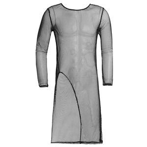 7c77da0ec4807f Das Bild wird geladen Herren-Maenner-Netz-Transparent-Longshirt -T-Shirt-Langarm-