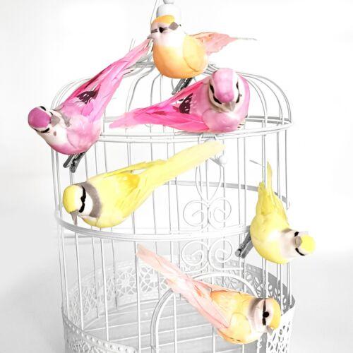 6x Dekovögel mit Clip Dekokäfige Zweige Hochzeit rosa apricot /& gelb Tischdeko