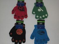 Children's Sports Themed Knit Gloves - Kids Stretchable Baseball Soccer Football