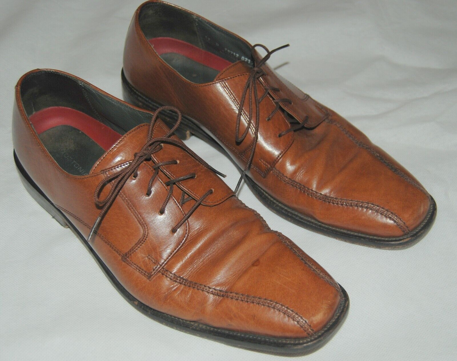 Bostonian Mens Light Solid Brown Leather Lace Up shoes Oxfords 12