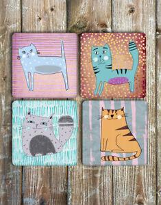 Cat-Coasters-Set-of-4-Non-Slip-Neoprene