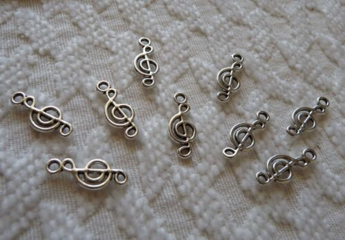 10x Music Note Charms for Bracelet Treble Clef Key Necklace Pendant Silver Tone