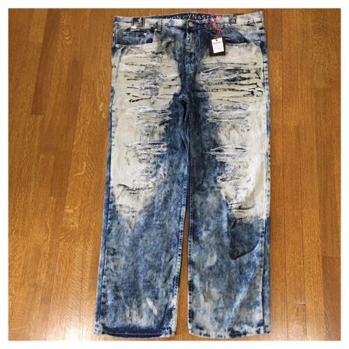 Brand New Big /& Tall Mens Size 48 Fashion Denim Moto Rips Acid Wash Jeans Pants