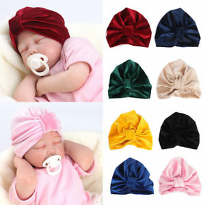 UK Beanie Hat Toddler Kids Boy Girl Soft Baby Knotted Hat Indian Turban Velvet