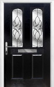2 Panel 2 Arch Elegance Composite Front Door in Black Various sizes
