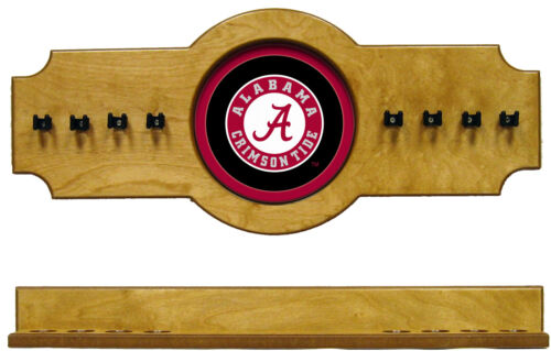 NCAA Alabama Crimson Tide 2 pc Hanging Wall Pool Cue Stick Holder Rack - Oak