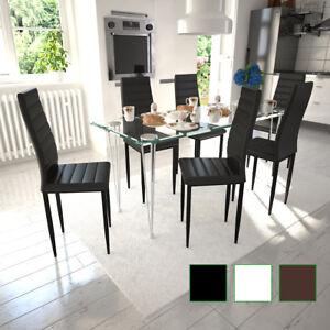 Détails sur Noir/Blanc/Brun Chaise Salle à Manger Ligne slim Lot de 2/4/6  Chaises Cuisine