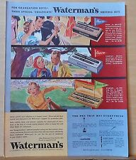 1937 magazine ad for Waterman Pens - Three different Writing Sets for Gifts